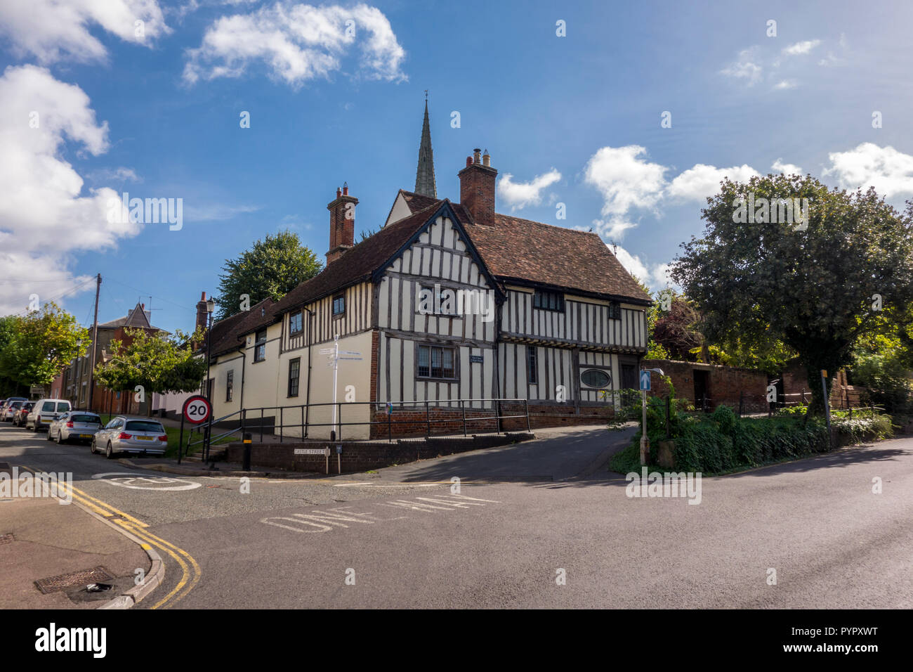 Historic timber framed building, Saffron Walden, historic market town in Uttlesford, Essex, UK - Stock Image