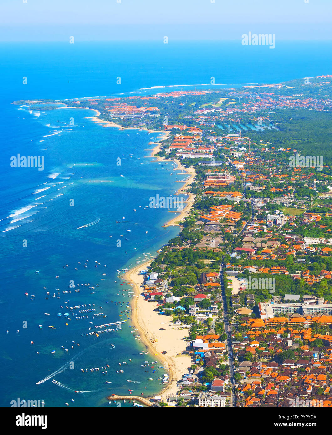 Aerial View Of Bali Island From An Airplane Indonesia Stock Photo