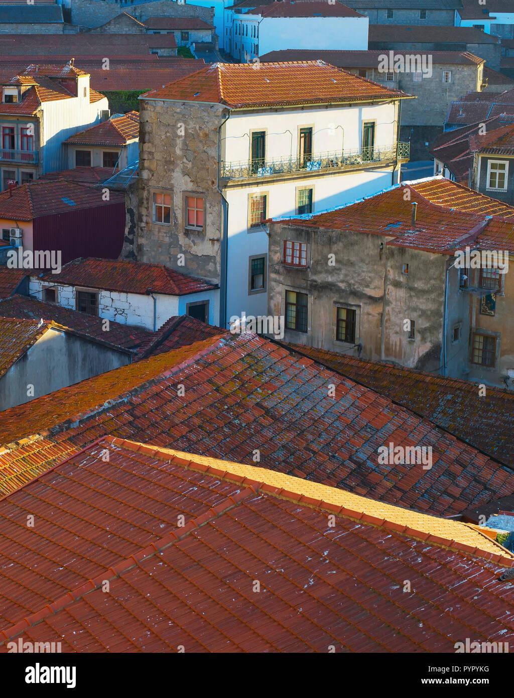 Vila Nova de Gaia old streets roofs. Porto, Portugal Stock Photo