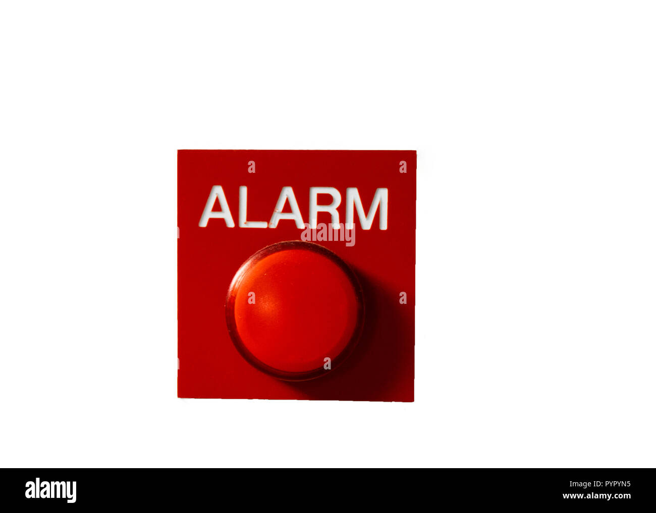Red Alarm button signal isolated on white. Concept of any alarm situation - fire, bankrupt, robbery etc. Stock Photo