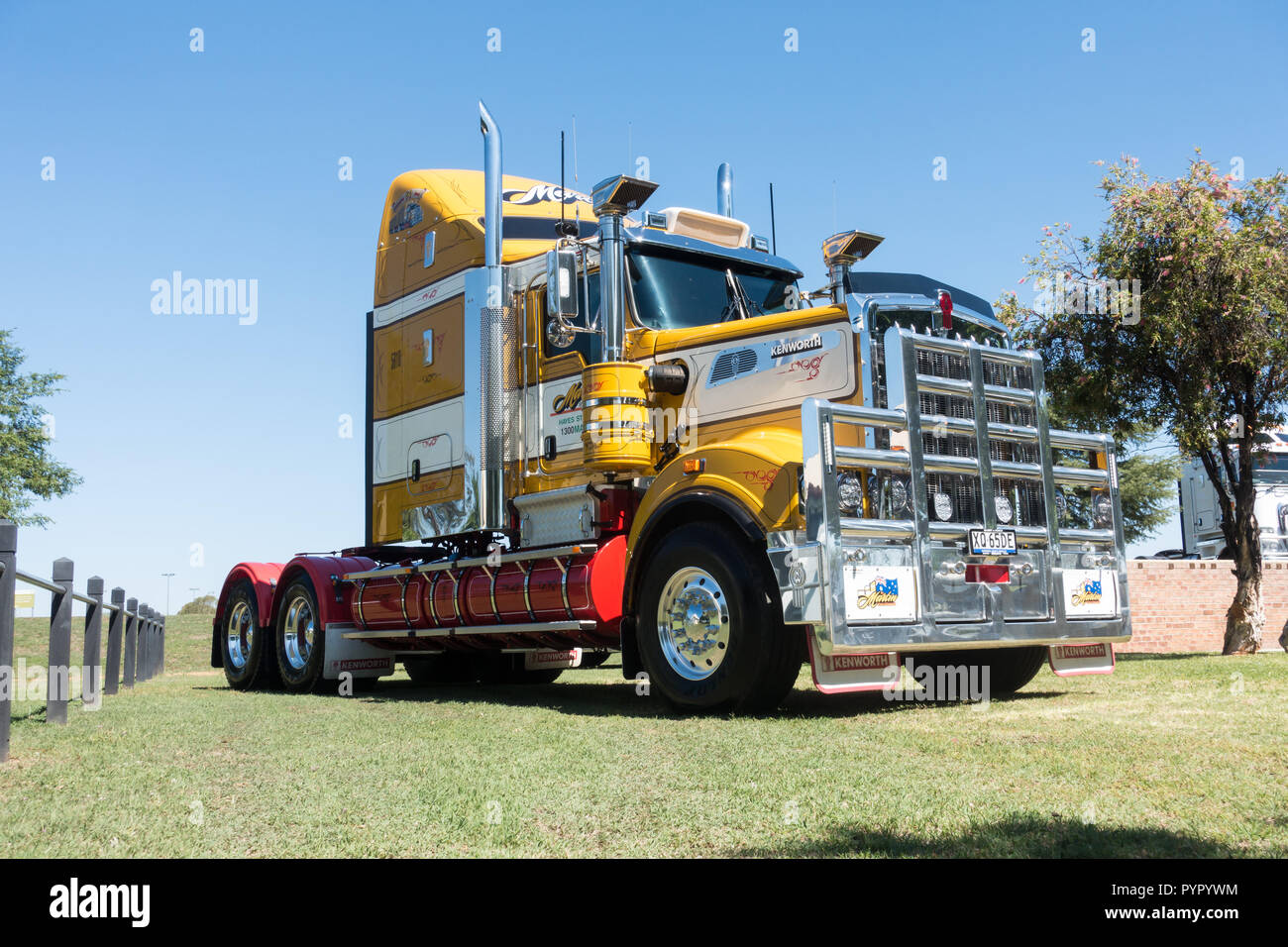 A Kenworth Long nose prime mover truck with heavily chromed bull bar. - Stock Image