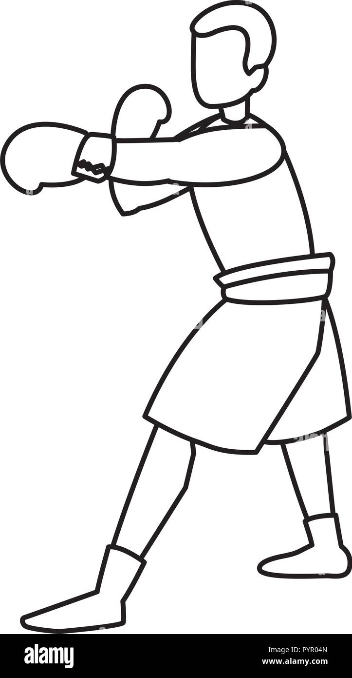 boxer training avatar character vector illustration design - Stock Image