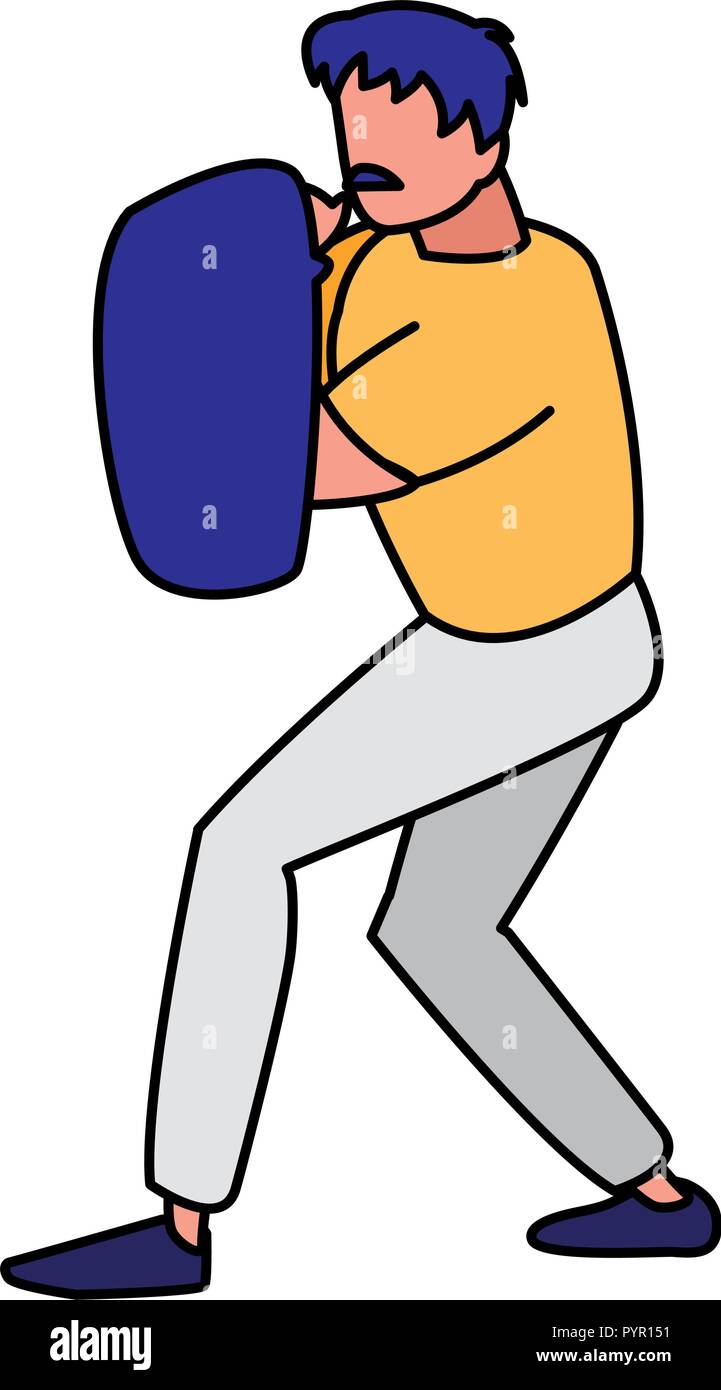 boxing sparring avatar character vector illustration design - Stock Image