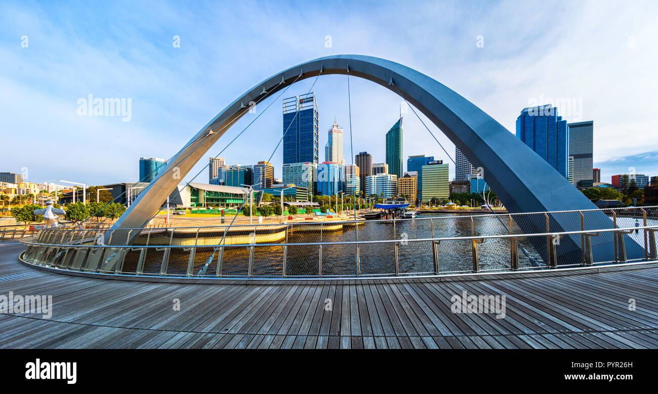 Elizabeth Quay Bridge overlooking Elizabeth Quay and Perth city. - Stock Image