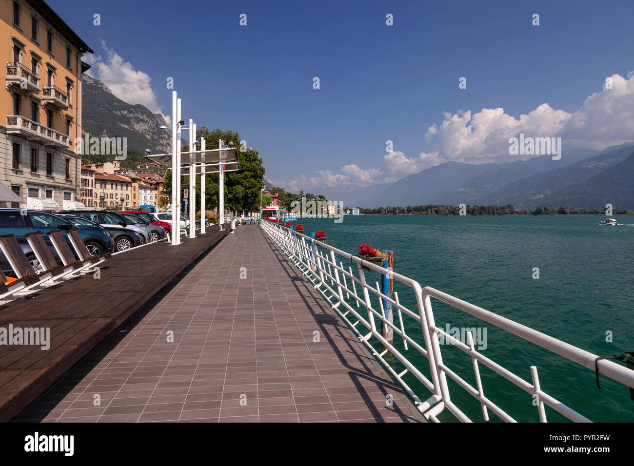Lakeside promenade at Lovere on Lake Iseo, italy - Stock Image
