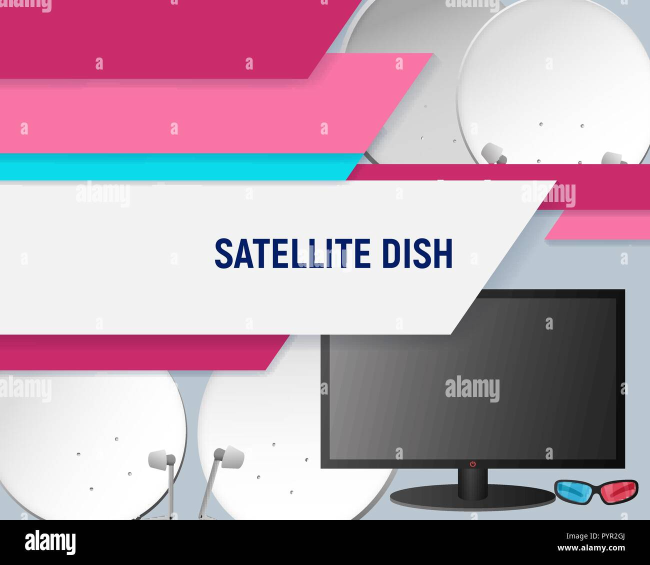 Television aerial design template. Satellite television dish vector illustration. - Stock Image