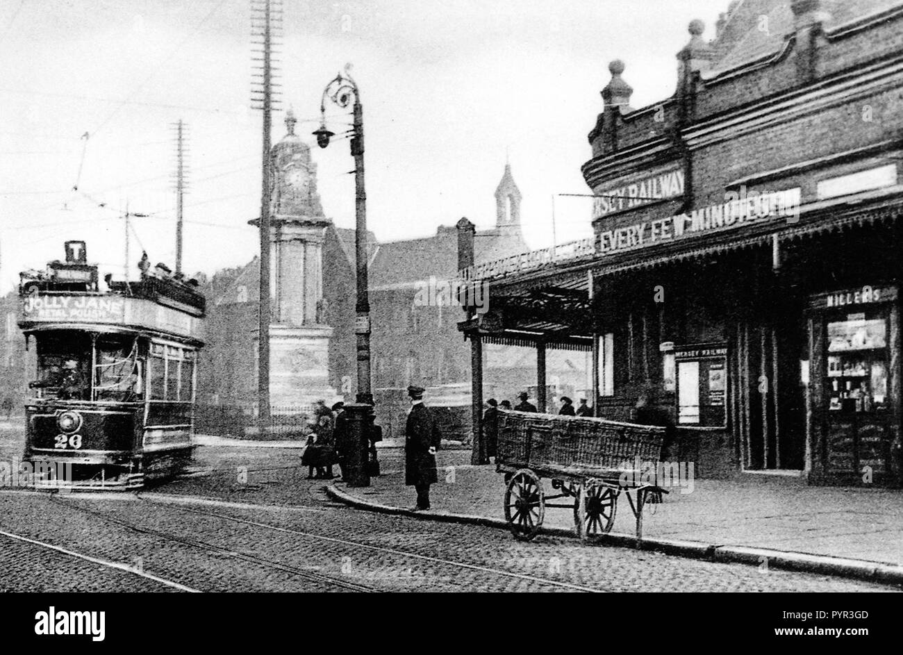 Central Railway Station, Birkenhead early 1900's - Stock Image