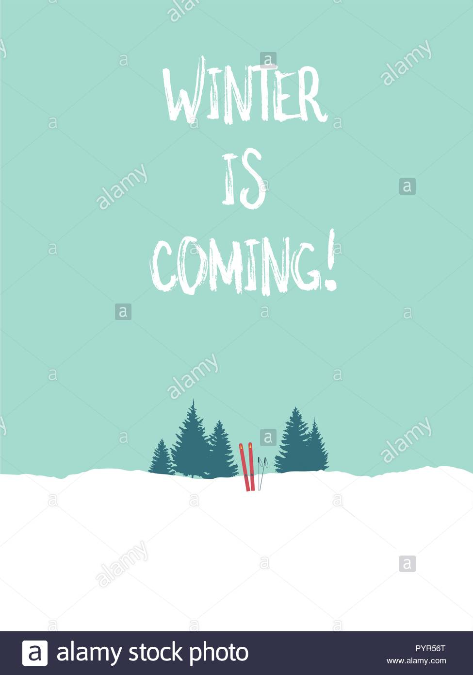 Winter postcard vector template with skis in the snow and minimalist landscape. Winter holiday or vacation banner. eps10 vector illustration. - Stock Vector