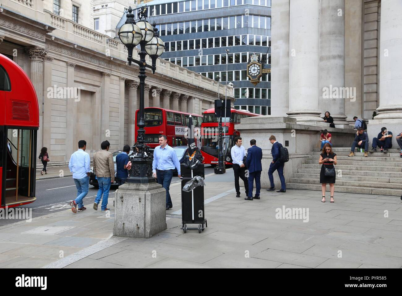 LONDON, UK - JULY 8, 2016: People visit Bank Junction in London, UK. London is the most populous city in the UK with 13 million people living in its m - Stock Image