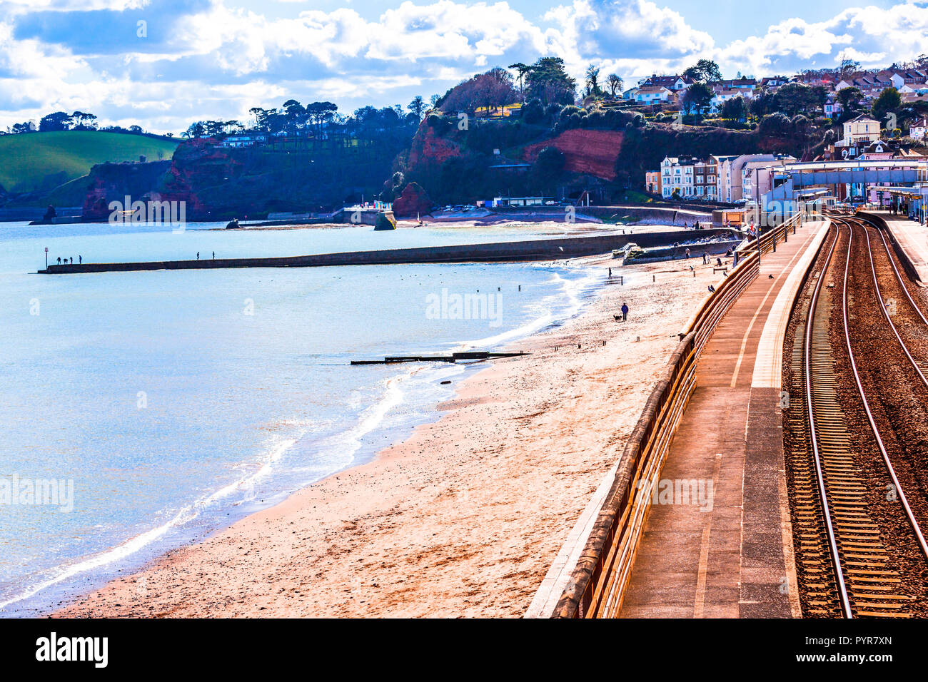 The railway trains at Dawlish ruining again after the storm damage of 2014. - Stock Image