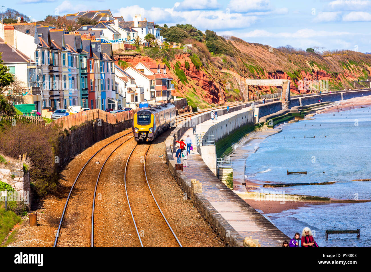 The railway trains at Dawlish ruining again after the storm damage of 2014. Stock Photo