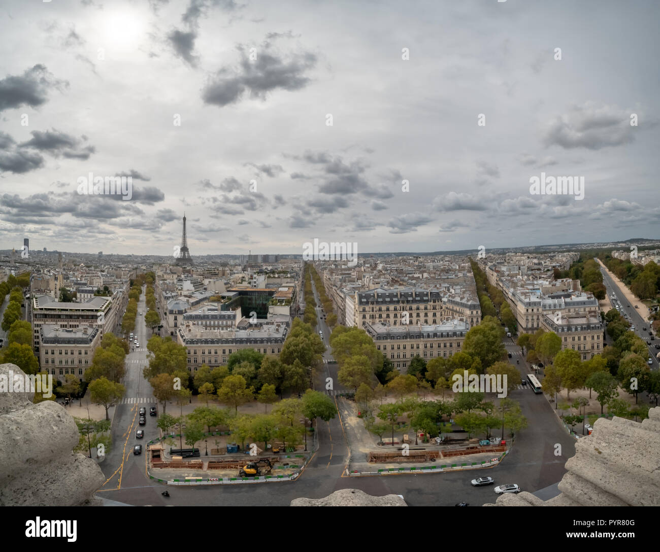 Looking South From the Arch the Triumph to Downtown Paris - Stock Image
