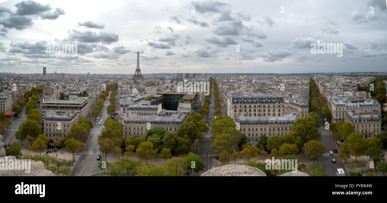 Aerial View of the Eiffel Tower in Downtown Paris - Stock Image