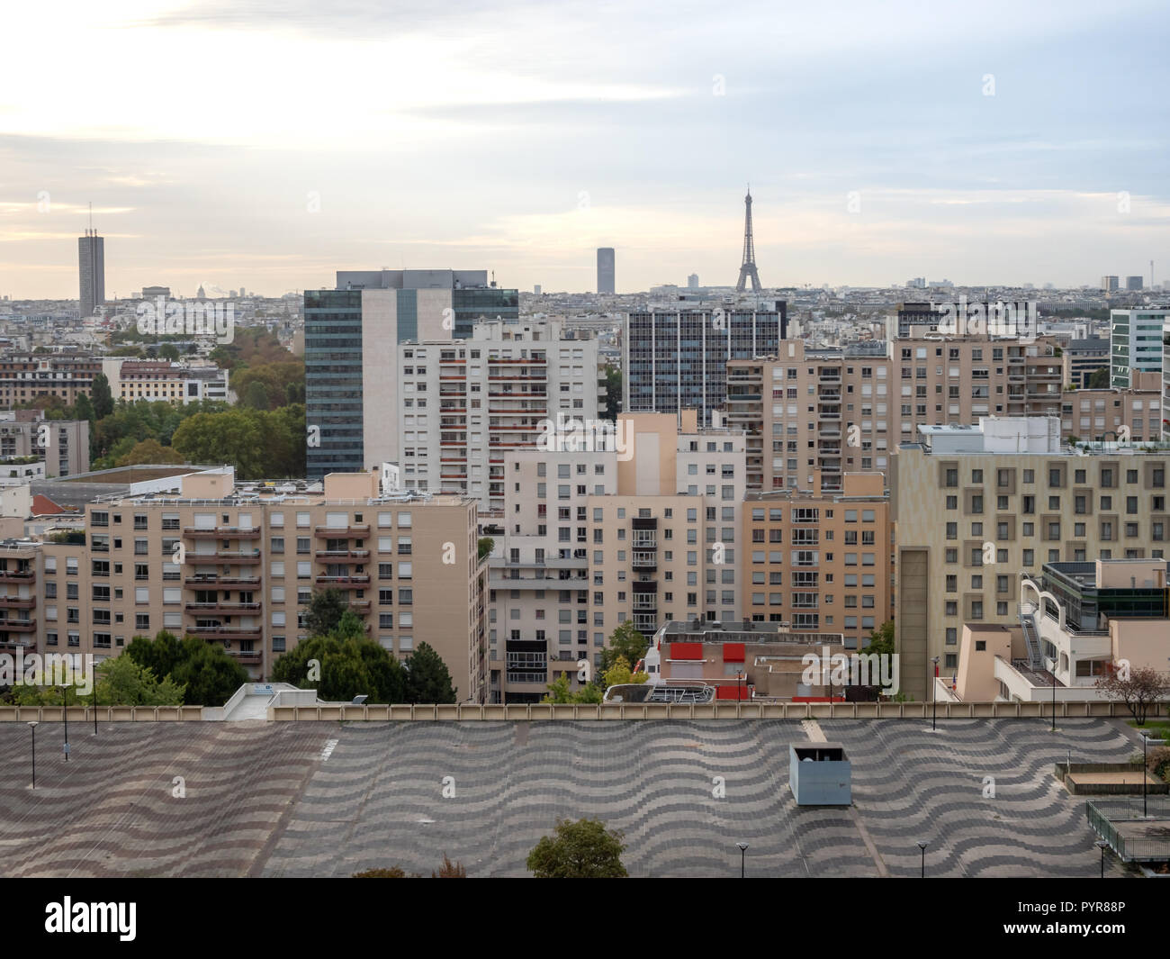 Aerial View of Downtown PAris with Eiffell Tower in the distance - Stock Image