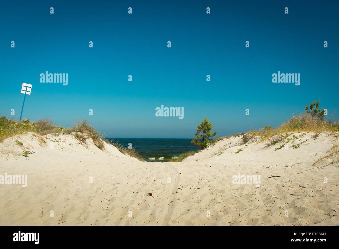 Entrance to sandy beach, Baltic Sea in Piaski, Poland - Stock Image