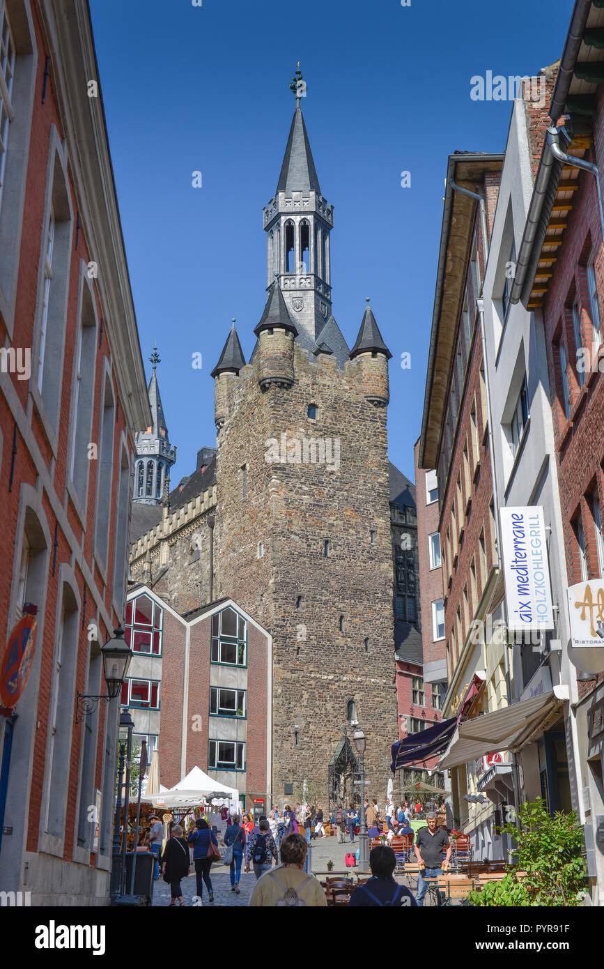 Granusturm, Krämerstrasse, market, Aachen, North Rhine-Westphalia, Germany, Kraemerstrasse, Markt, Nordrhein-Westfalen, Deutschland - Stock Image