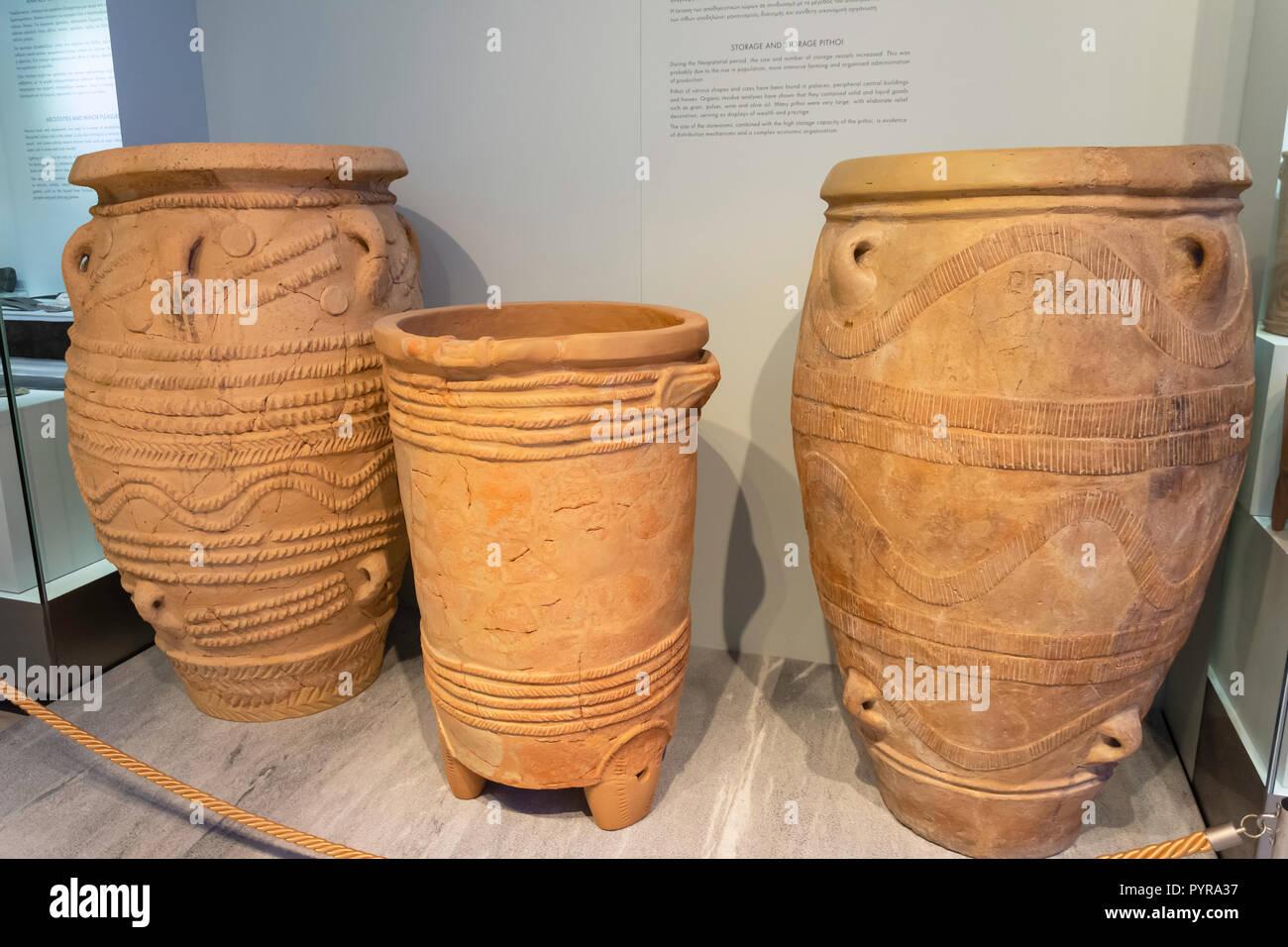 Greek Pithos storage vessels, Heraklion Archaeological Museum, Heraklion (Irakleio), Irakleio Region, Crete (Kriti), Greece - Stock Image
