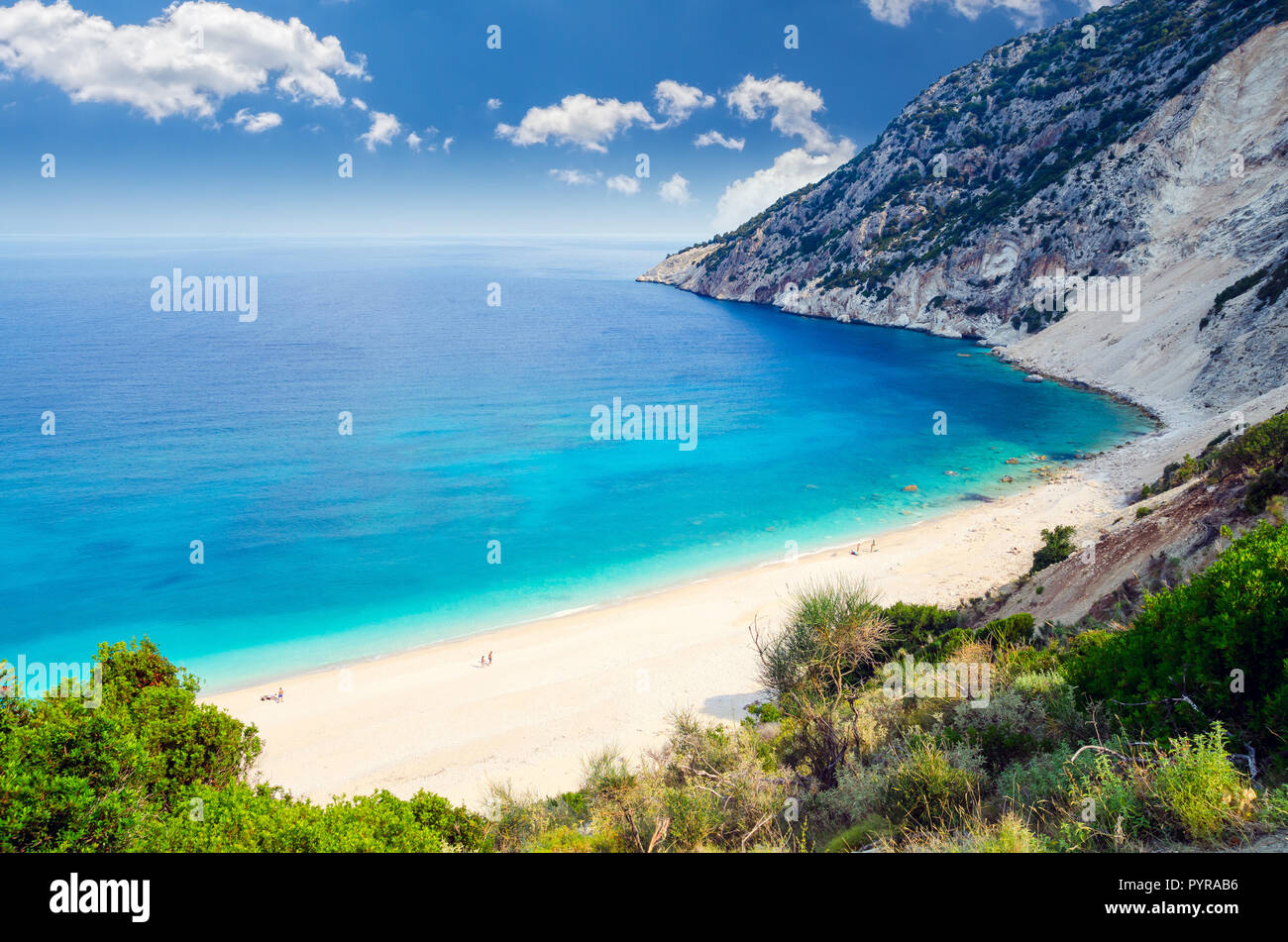 Myrtos beach, Kefalonia island, Greece. Beautiful view of Myrtos bay and beach on Kefalonia island - Stock Image