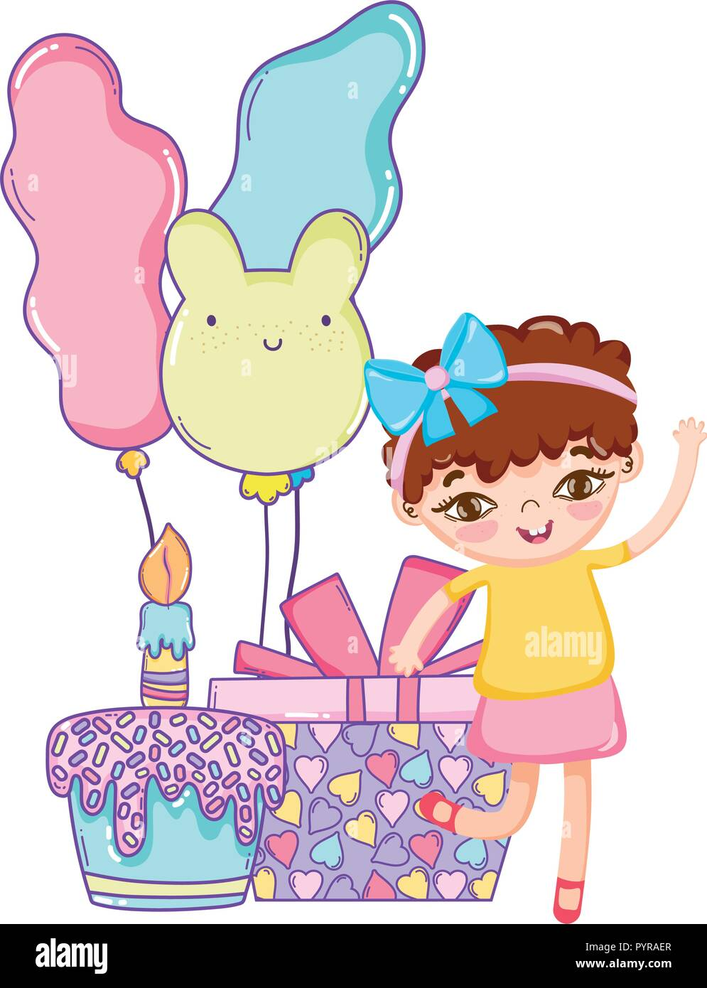 Happy Birthday Girl Cartoons Stock Vector Art Illustration Vector
