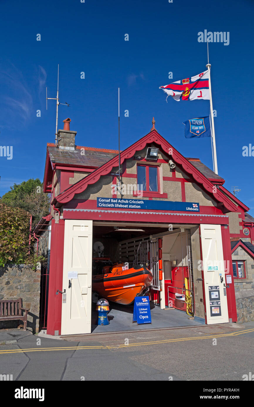 Criccieth Lifeboat Station in North Wales, part of the RNLI Lifeboat services operated throughout the UK. - Stock Image