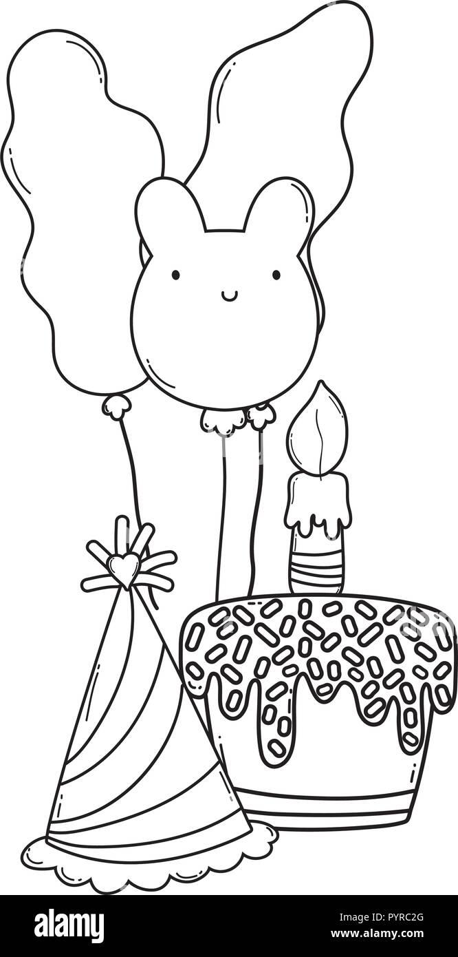 Happy Birthday Cartoons Black And White Stock Vector Art