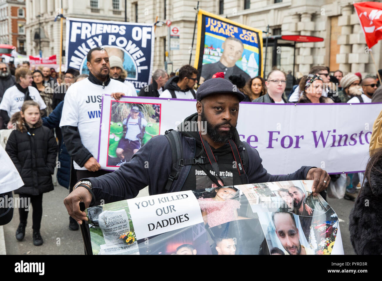 London, UK. 27th October, 2018. Campaigners from the United Families and Friends Campaign (UFFC) take part in the 20th annual procession to Downing St - Stock Image
