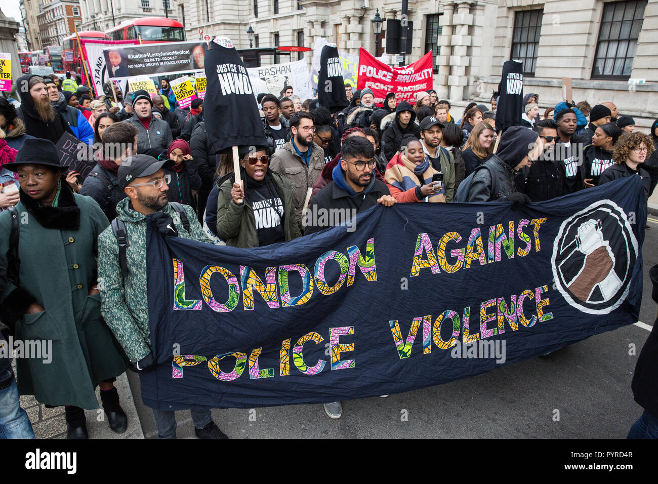 London, UK. 27th October, 2018. Supporters of London Against Police Violence join campaigners from the United Families and Friends Campaign (UFFC). - Stock Image