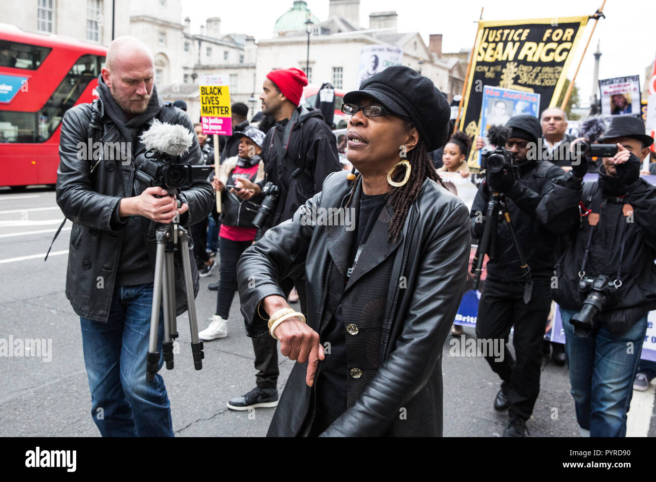 London, UK. 27th October, 2018. Marcia Rigg, sister of Sean Rigg, marches with campaigners from the United Families and Friends Campaign (UFFC). - Stock Image