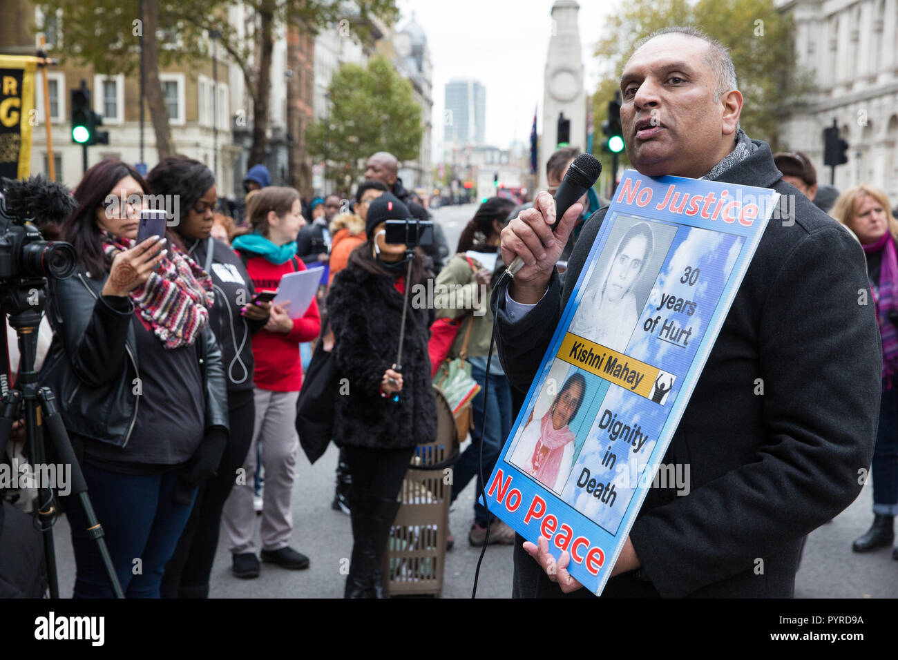 London, UK. 27th October, 2018. Raj Mahay, son of Kishni Mahay, addresses campaigners from the United Families and Friends Campaign (UFFC). - Stock Image