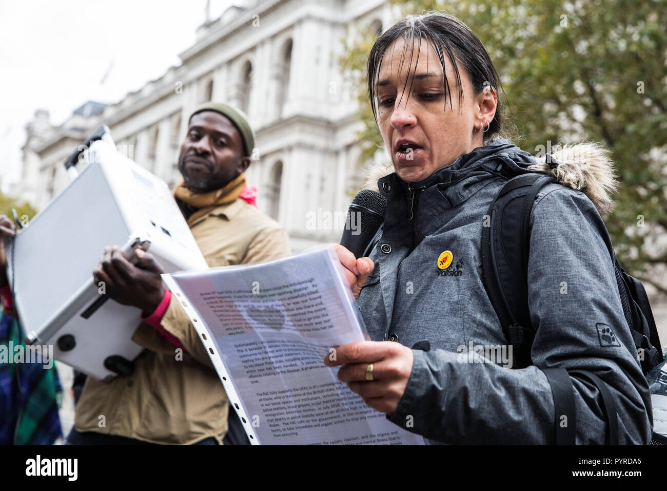 London, UK. 27th October, 2018. Becky Shah of the Hillsborough Justice Campaign, daughter of Inger Shah, addresses campaigners from the UFFC. - Stock Image