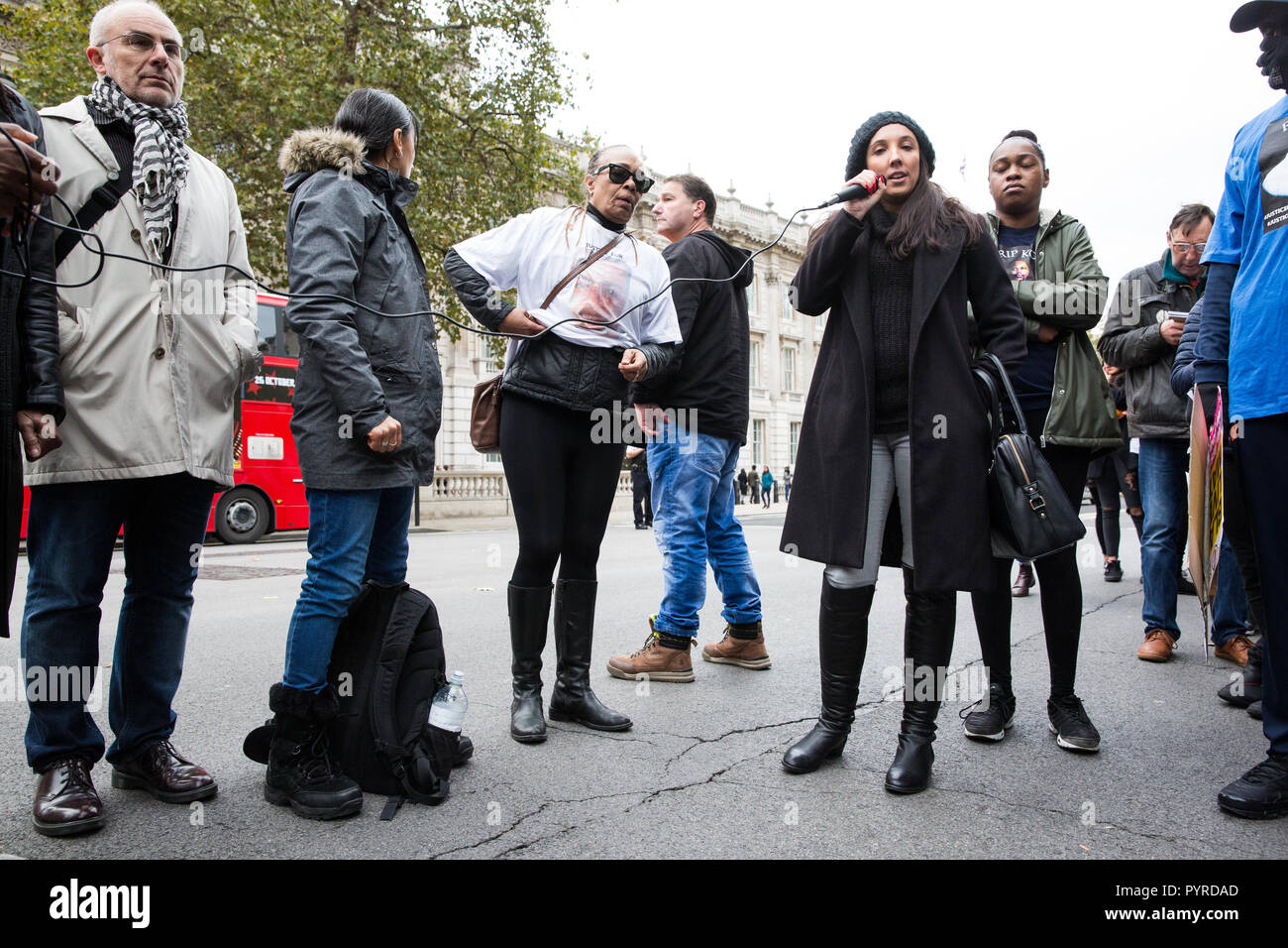 London, UK. 27th October, 2018. Lisa Cole, sister of Marc Cole, addresses campaigners from the United Families and Friends Campaign (UFFC). - Stock Image