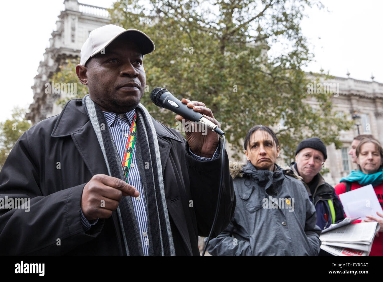 London, UK. 27th October, 2018. Tipper Naphtali, cousin of Mikey Powell, addresses campaigners from the United Families and Friends Campaign. - Stock Image