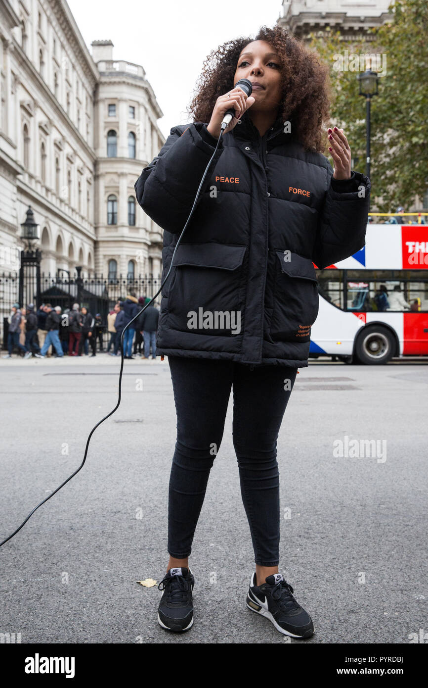 London, UK. 27th October, 2018. A friend of the family of Mark Duggan addresses campaigners from the United Families and Friends Campaign. - Stock Image