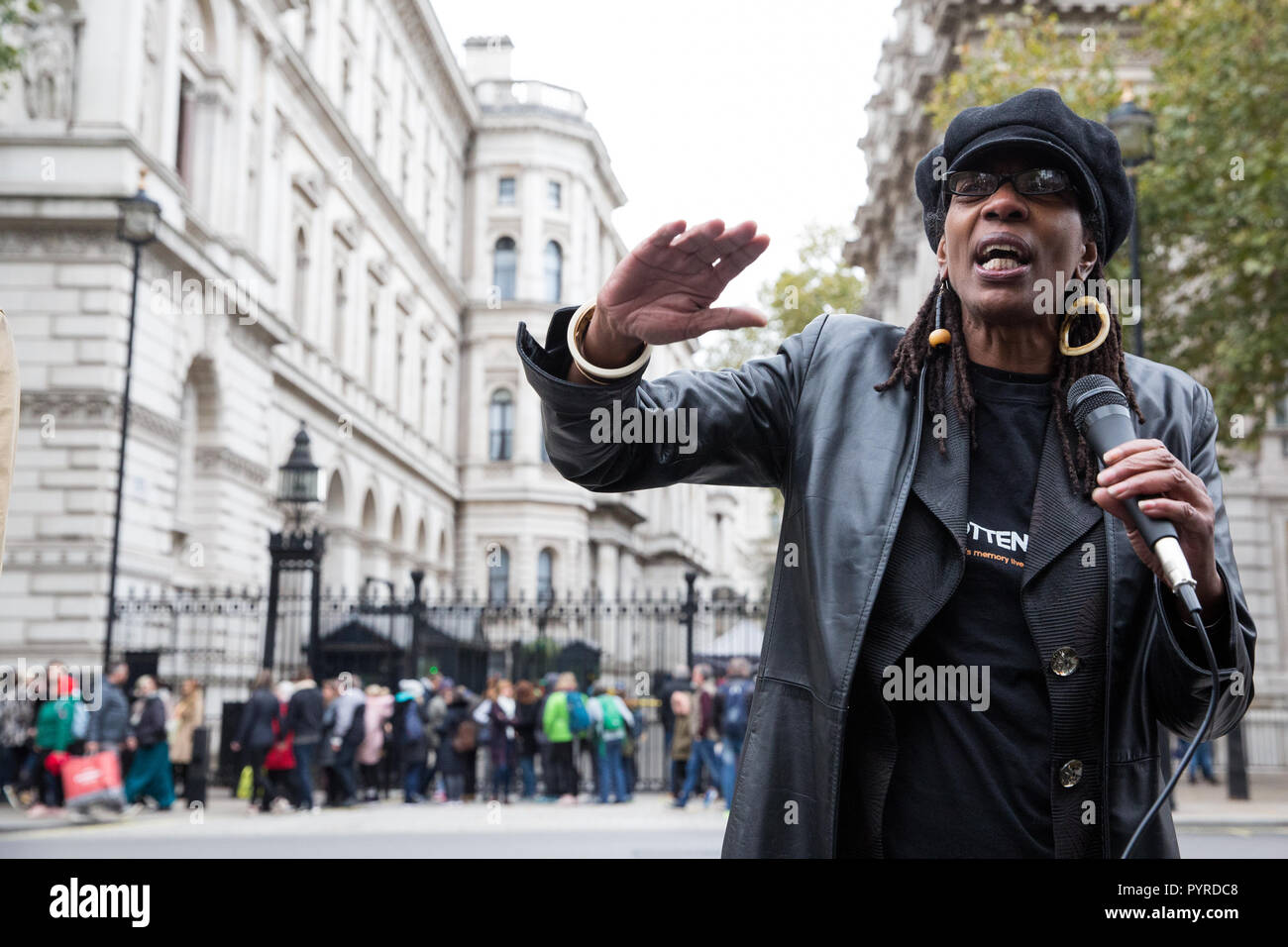 London, UK. 27th October, 2018. Marcia Rigg, sister of Sean Rigg, addresses campaigners from the United Families and Friends Campaign. - Stock Image