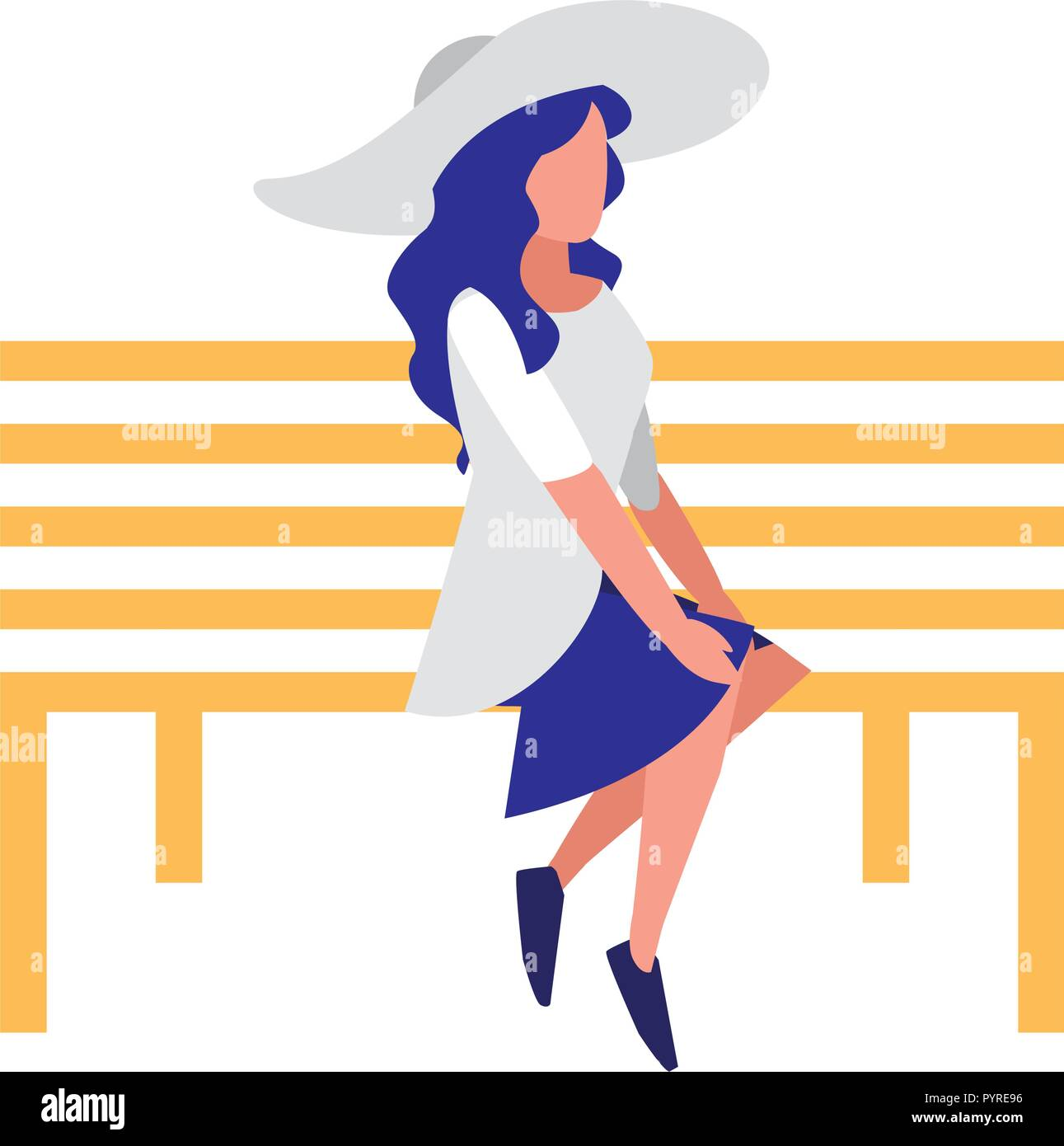 young woman sitting in the park chair vector illustration design - Stock Vector
