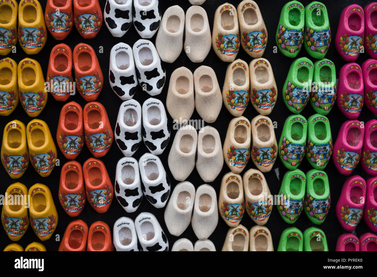 Traditional Dutch clogs souvenirs for tourists at the Flower Market in Amsterdam, Holland - Stock Image