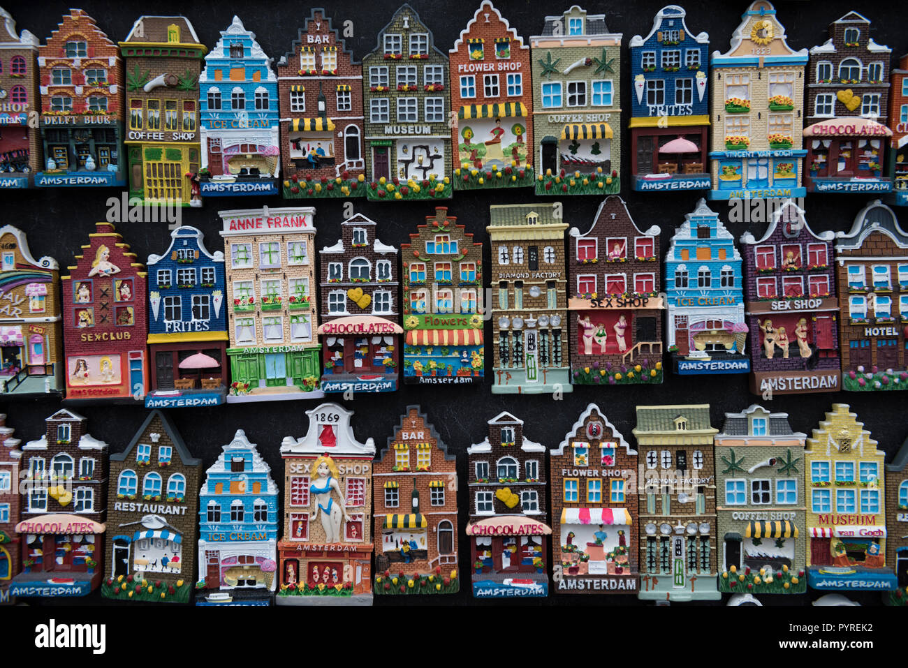 Netherlands, Amsterdam, Flower Market (Bloemenmarkt), fridge magnets depicting facades of Dutch houses - Stock Image