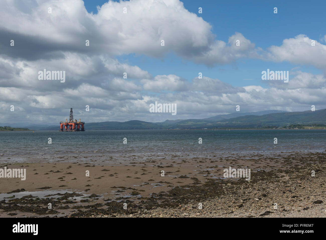 Drilling Rig anchored in Cromarty Firth, Invergordon, Highland, Scotland, UK - Stock Image