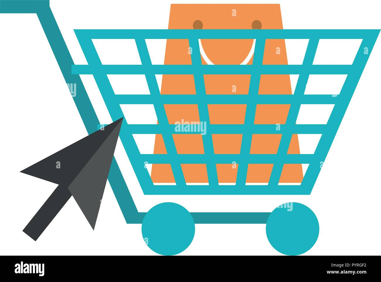 a4b9d215dfd Online shopping cart with bag and click pointer vector illustration graphic  design