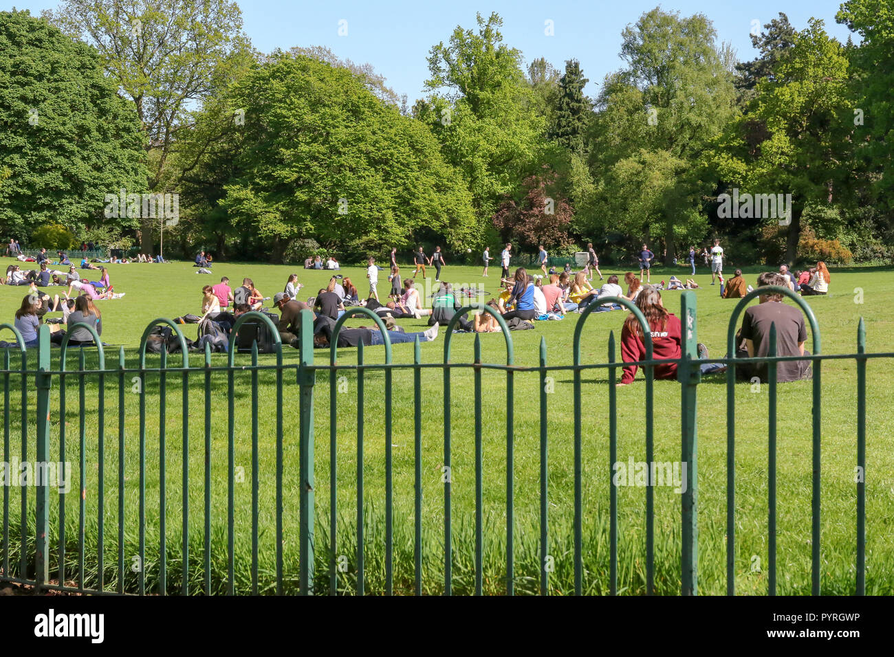 Students and young people relaxing in a Belfast Park on a sunny spring day. Botanic Gardens Belfast. - Stock Image