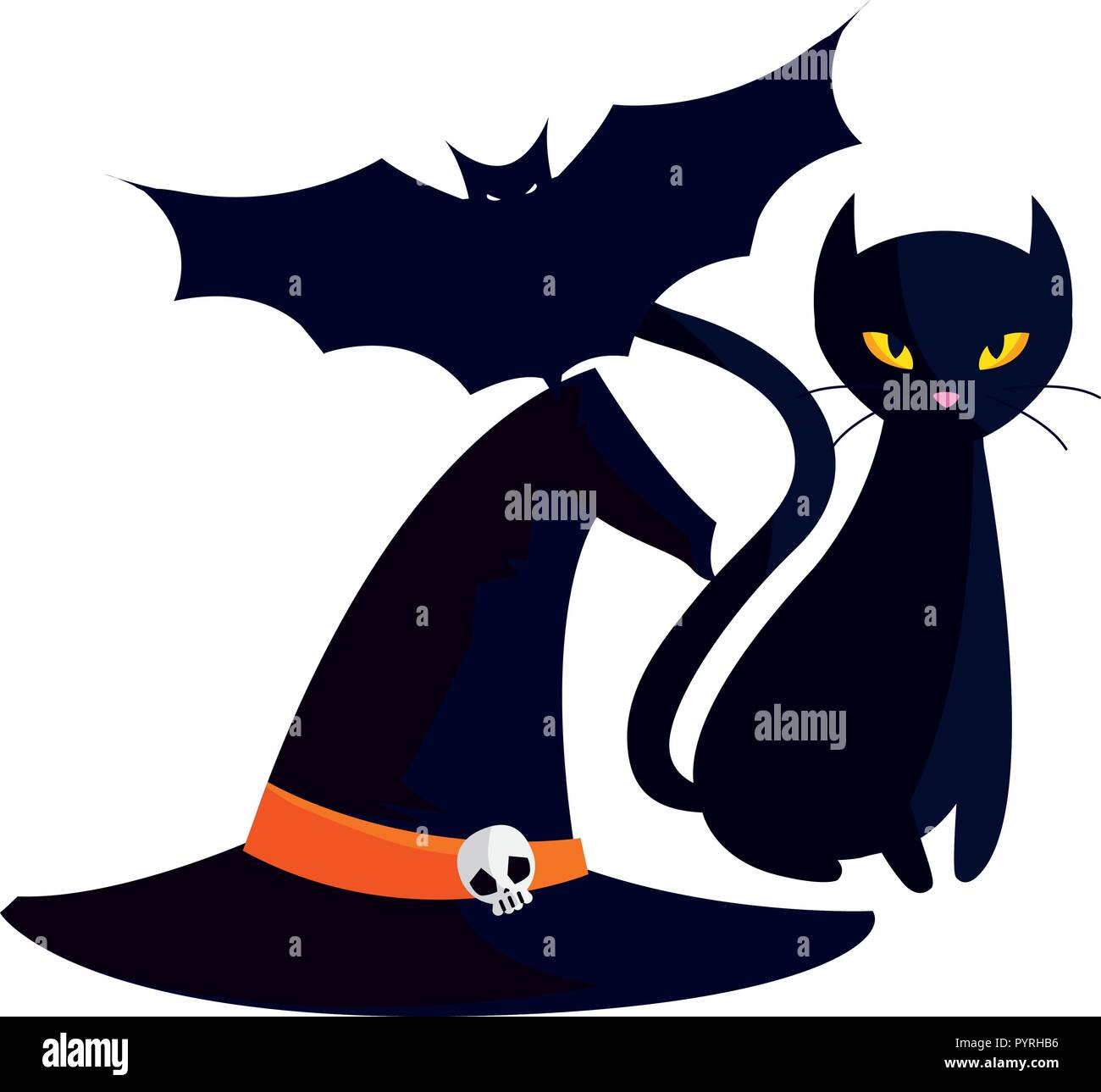 witch hat with bat and cat halloween icons vector illustration design - Stock Image