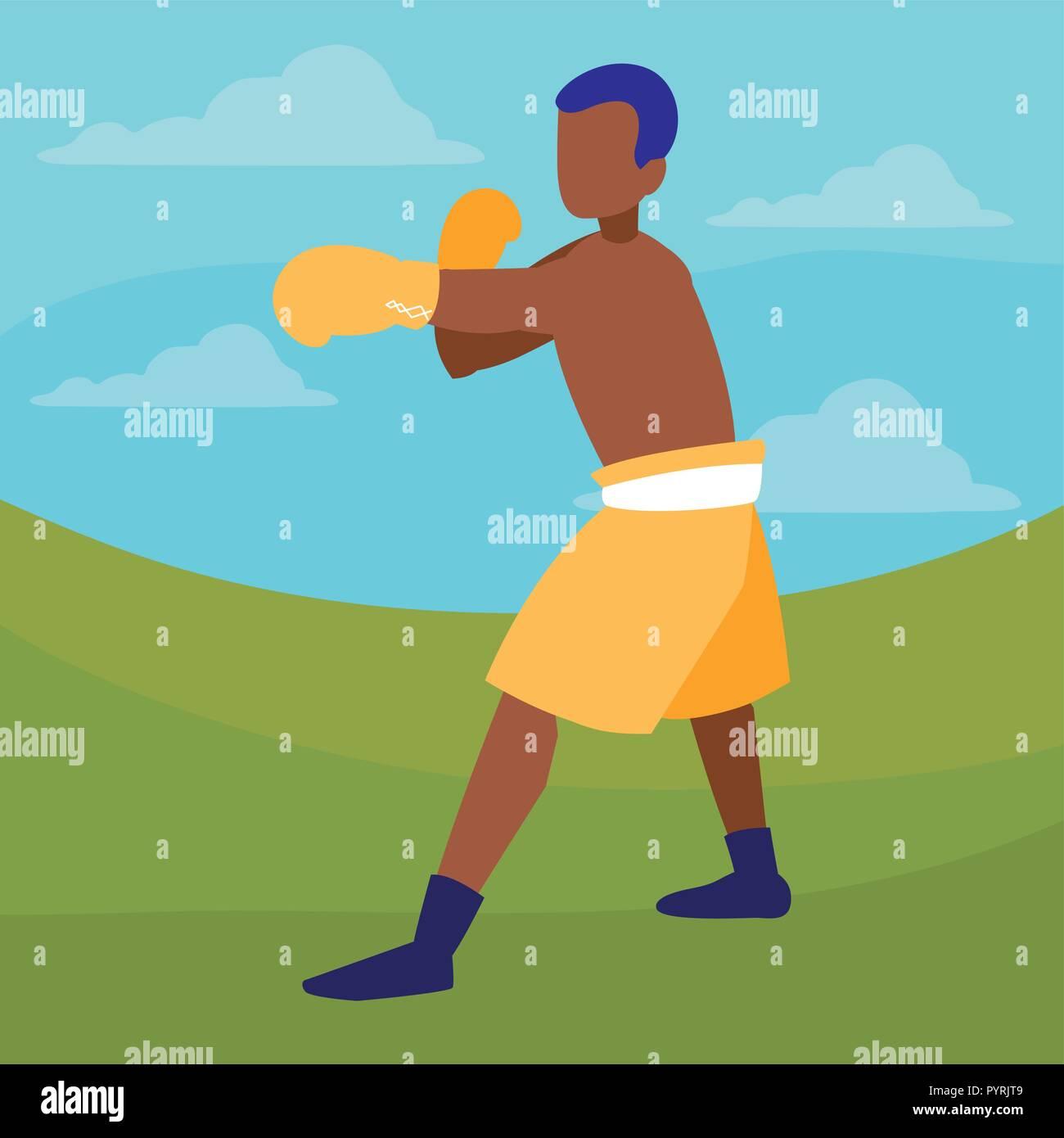 boxer training avatar character vector illustration design - Stock Image