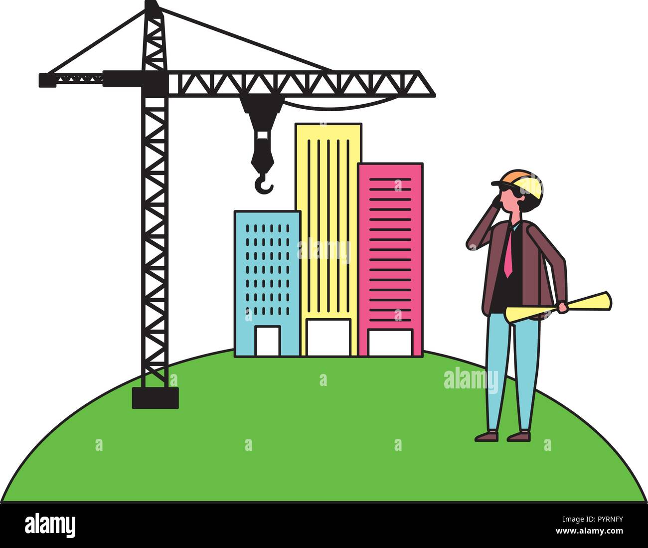 architect man with construction crane and buildings - Stock Vector