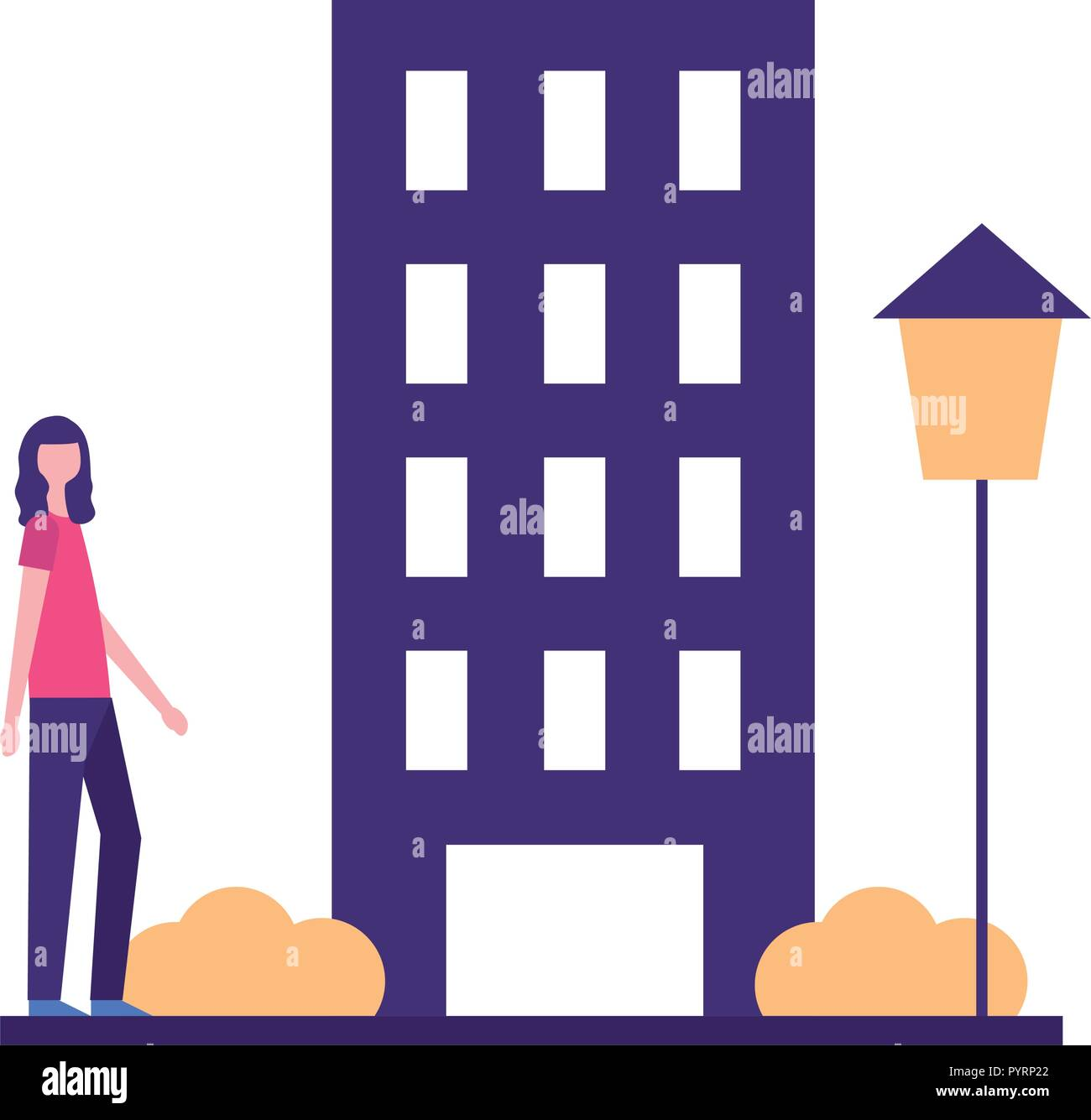 woman standing near building city Stock Vector