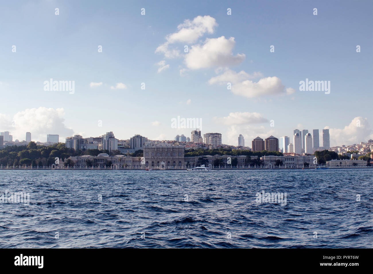 View of buildings on European side of Istanbul and Bosphorus strait. - Stock Image