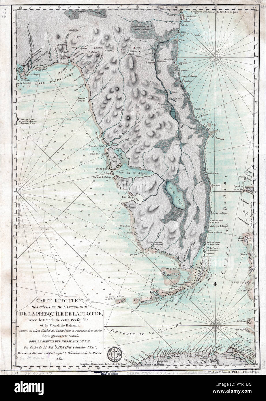 Vintage Maps / Antique Maps - Florida Map ca. 1780 - Relief shown by ...