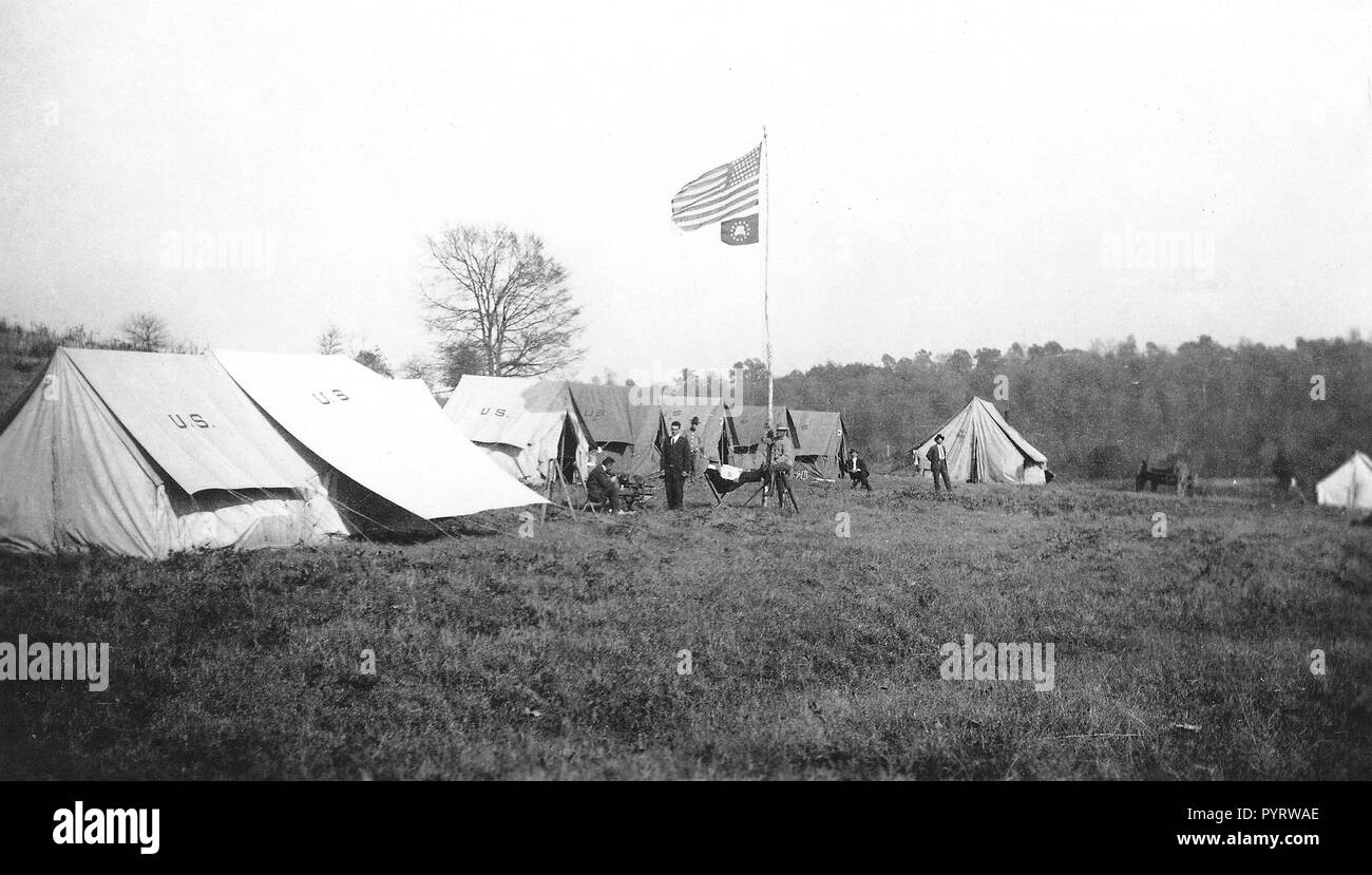 a USGS topographic mapping field camp in the early 1900s - Stock Image