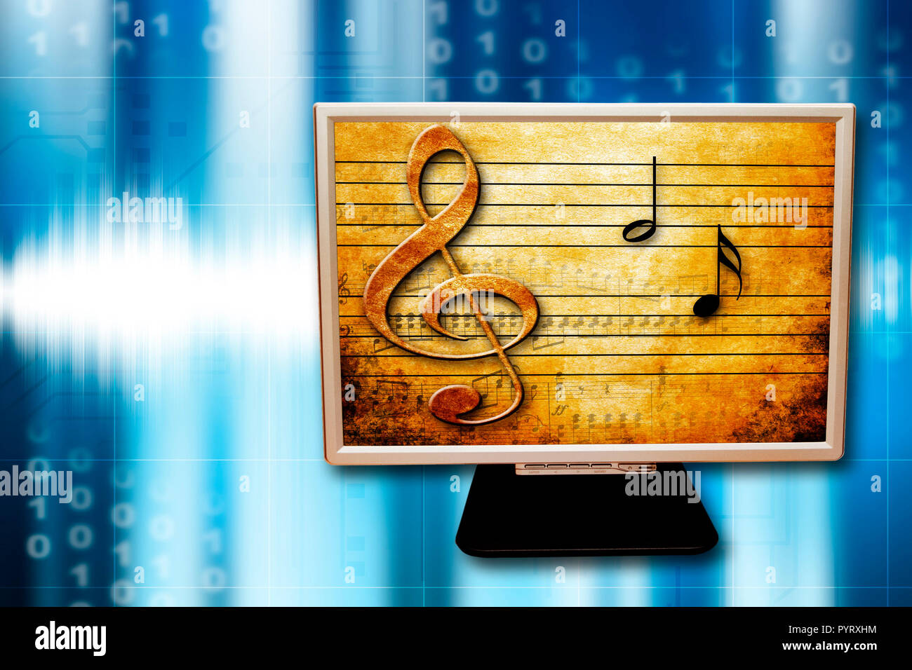 conceptual illustration for music on the Internet - Stock Image