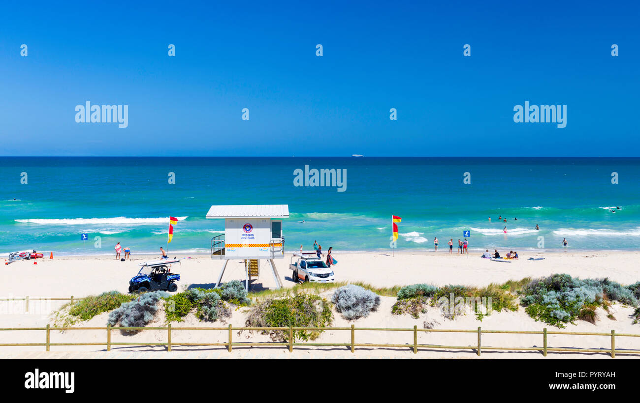 Surf Life Saving observation tower on Scarborough Beach. Perth, Western Australia - Stock Image