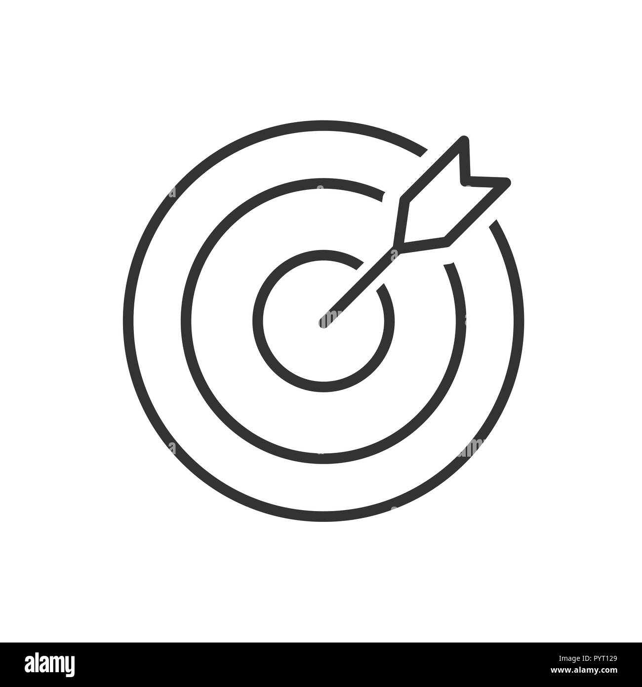 Target line icon on a white background. Vector illustration Stock Vector